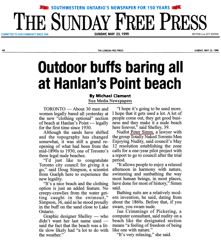 London Free Press 1999-05-23 - Hanlan's Point CO-zone pre-opens